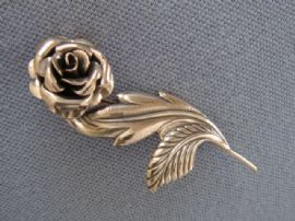 JewelArt Sterling Silver Rose Brooch - American late 1940s - Early 1950s  SOLD